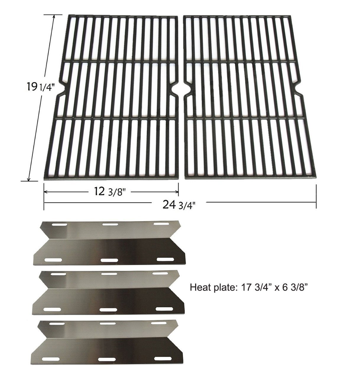 BBQ funland Parts Kit Replacement for Jenn Air Gas Grill 720-0336 and Costco Kirland Pro Series 720-0033 (2 Cast Iron Cooking Grids & 3 Stainless Steel Heat Plates)