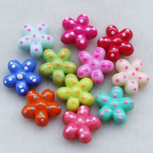 Cute 17x27mm Candy Color Polka Dot Pattern Flower Beads Five Petals Flower Beads For Kids Craft