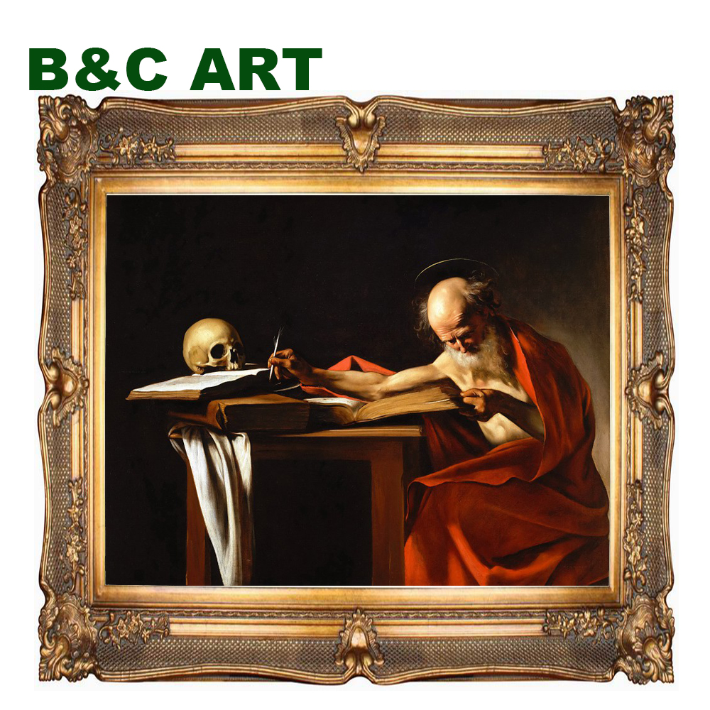Reproduction classical Saint Jerome Writing Michelangelo Merisi da Caravaggio famous western art paintings with frame
