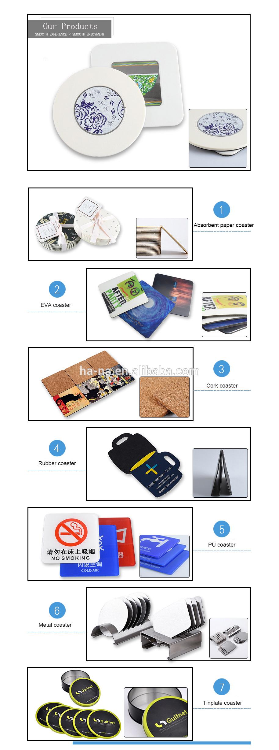 Embalagem de presente Super qualidade padrão de impressão coaster do copo com eva