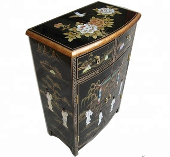 Black Hand Painted Mother Of Pearl Asia Oriental Furniture Living