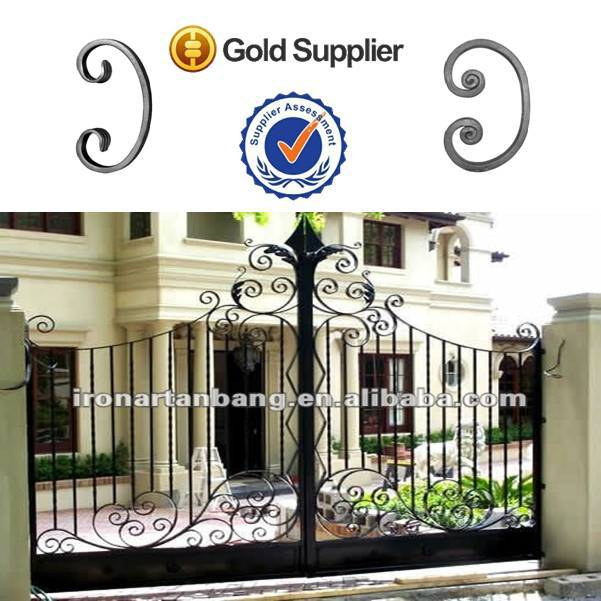 wrought iron bed/slide iron main gate design iron part scroll--5112