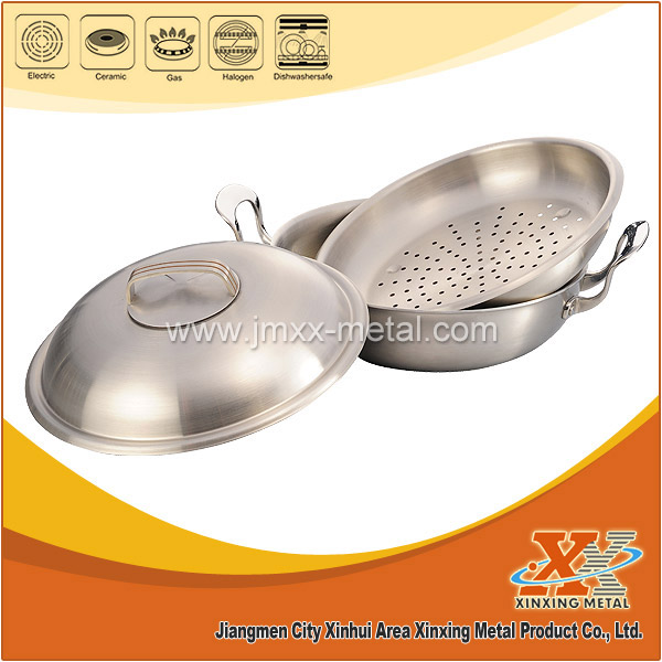 New Style Tri-ply Stainless Steel Chinese Wok With Steamer For Sale