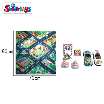 Kids Carpet Traffic Rug Baby Car Play Mat With Car And Signpost Toy For Children