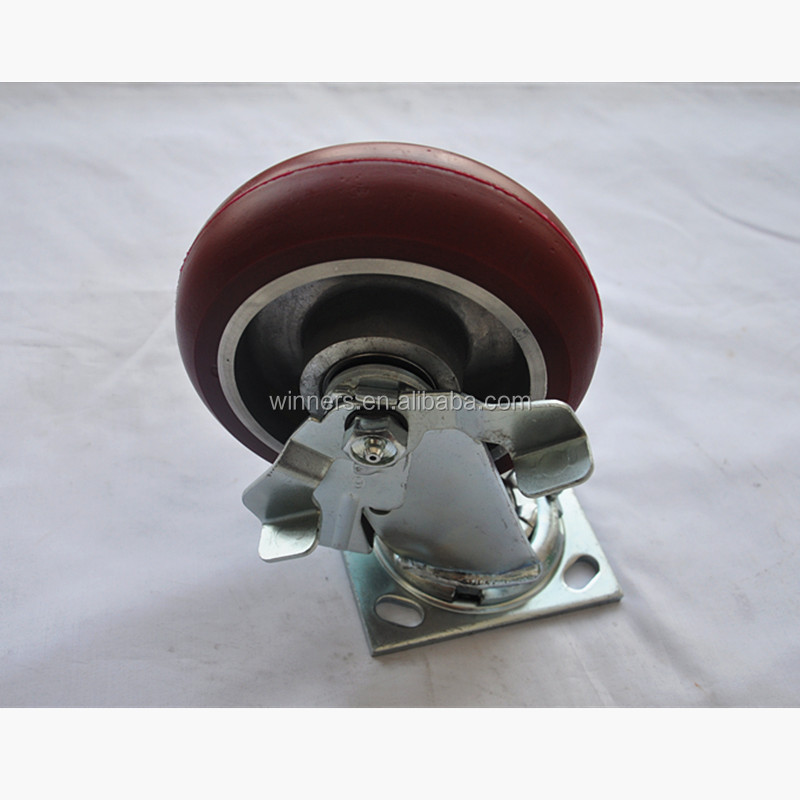 6x2 side brake swivel plate pu casters