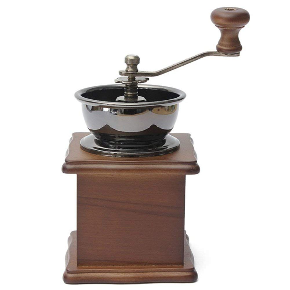 Coffee Hand Grinder, Portable Manual Coffee Grinder, Wooden Coffee Bean Spice Vintage Style Coffee Mill With Adjustable Ceramic Conical Burr Hand Crank(As The Picture)