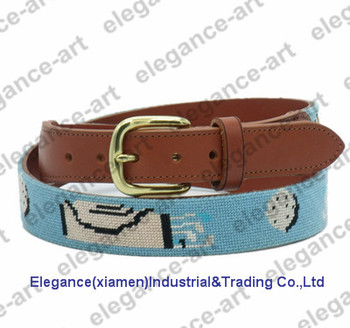 Needlepoint Golf Belt Genuine Leather Belt for Men