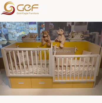 Twins Babies Wooden Crib Baby Cot Bed For Twins GEF BB 104