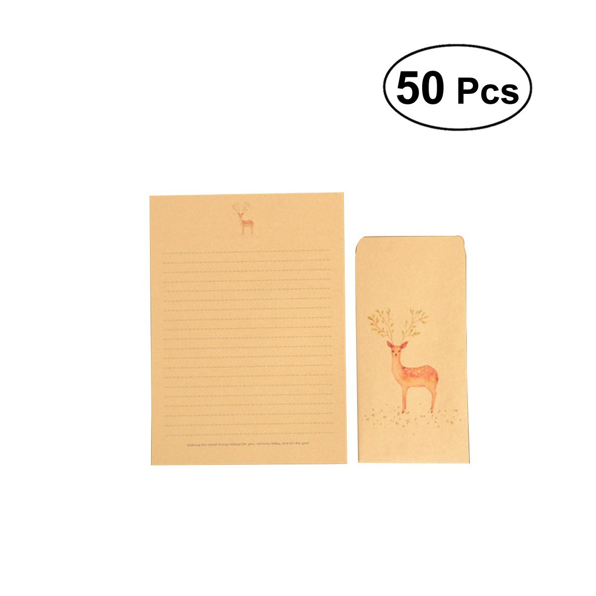 NUOLUX 50Pcs Vintage Writing Paper with Envelopes Set Stationery Letter Paper Kraft Brown Envelopes (Random Pattern)