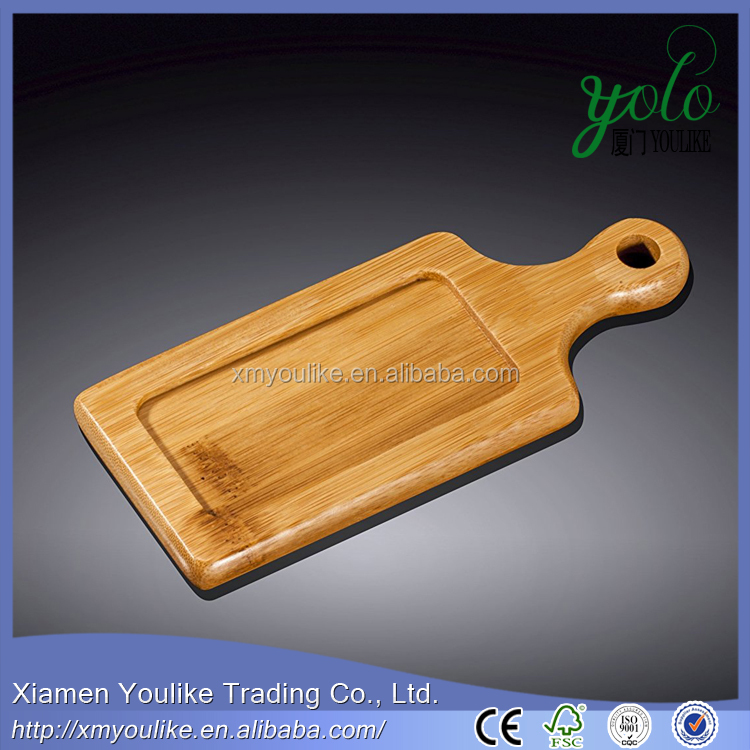 Food Serving Bamboo Tray Wooden Steak Barbecue Platter Wood Dinner Plate