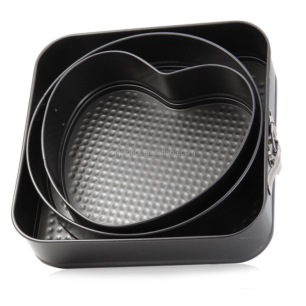 JOINHOT 3 PC SET NON STICK SPRINGFORM CAKE PAN BAKING BAKE TRAY TINS ROUND SQUARE HEART
