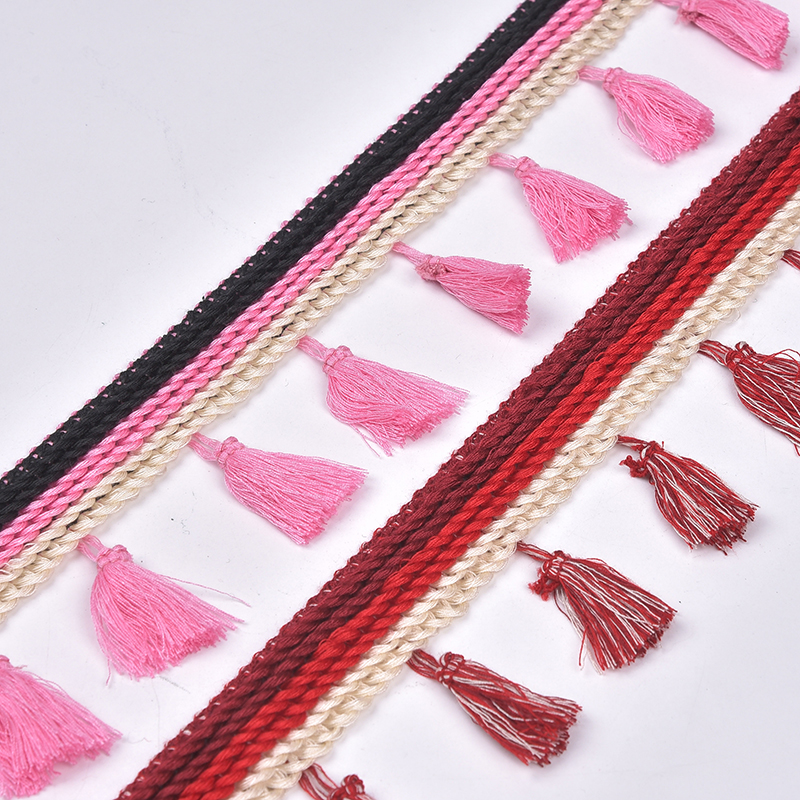 Decorative beaded curtain tassel fringe trim