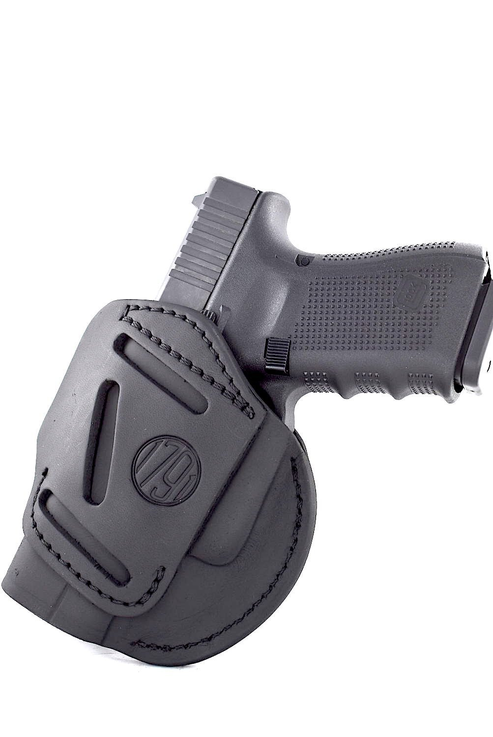 1791 GunLeather 4-WAY Glock 19 Holster - OWB and IWB CCW Holster - Right Handed Leather Gun Holster - Fits Glock 19, 23, 26, 27, 29, 32, 33 (4 WAY SIZE 3)