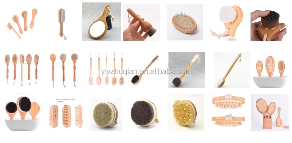 Amazon hot selling houten Bamboe droge huid body borstel voor bad set