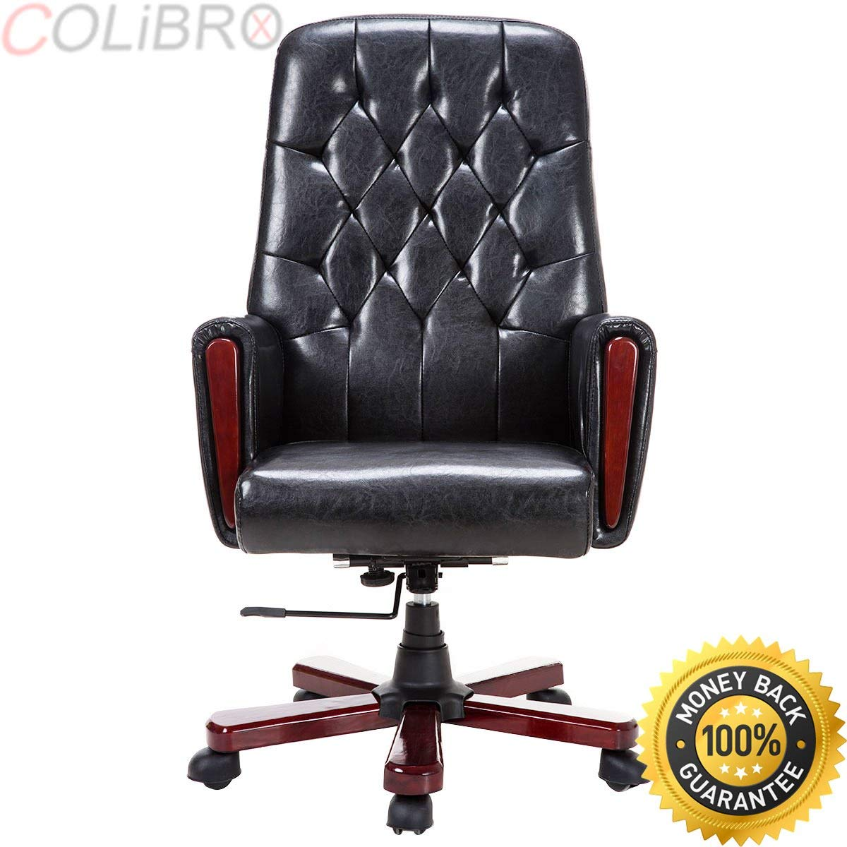 Colibrox modern high back pu leather deluxe guest office accent chair furniture black new