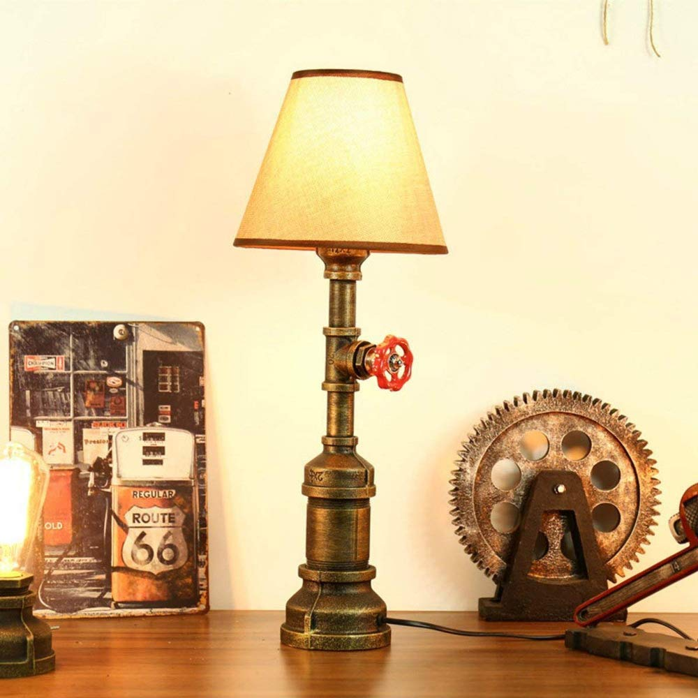 Rishx Wrought Iron Table Light LED Vintage Steampunk Metal Water Pipe Desk Lamp Bedside Desktop Lantern with E27 Socket for House, Bar, Restaurants, Coffee Shop Decoration