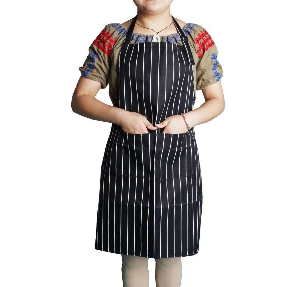 SUMAJU Adjustable Bib Apron, Kitchen Apron with Pockets Neck Strap Cooking Stripe Apron for Men, Women and Chef