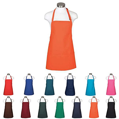 Aprons for woman men and chef apron with pockets | White, Black, Denim and many more colors for kitchen cooking or the grill | Mens and womans BBQ grilling barista 3 pocket restaurant apron