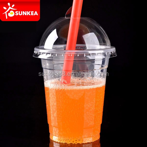 250ml cool colour round plastic juice straw cup with straw