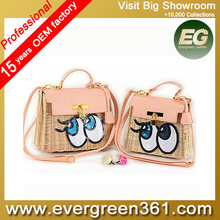Summer fashion beach bag natural straw bags with eyes hot sale in guangzhou T089