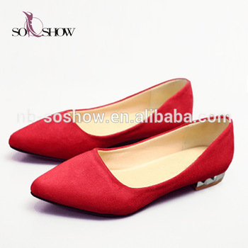Oversized Pointed Toe Casual Red Flat