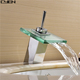 Single Handle Widespread Waterfall Bathroom Sink Faucets Glass Spout Hot Cold Water Basin Taps