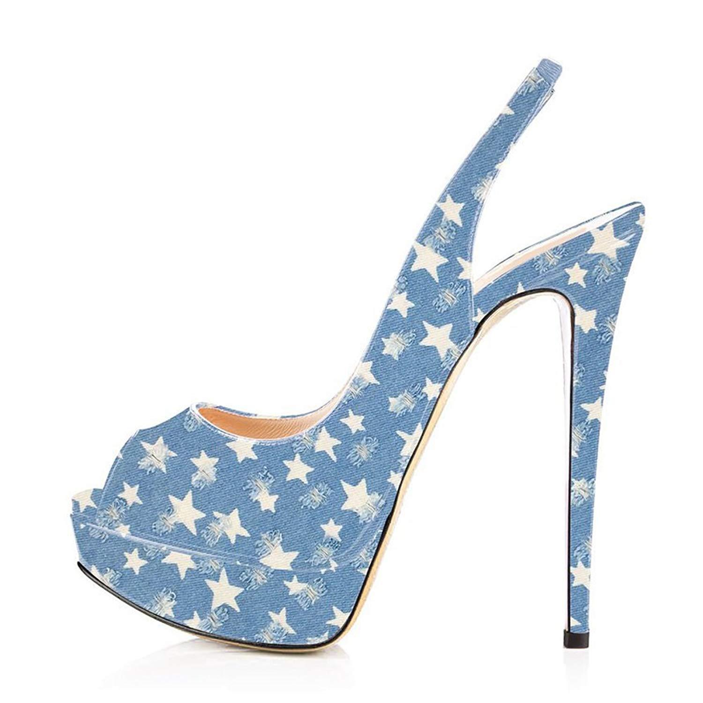 90f11cfe8c Get Quotations · Women Peep Toe Platform Sandals Slingback High Heels Party  Stilettos Dress Shoes