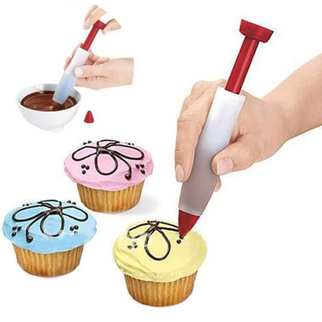 Set of 2, Durable Silicone Decorating Pen/ Chocolate Writting Pen/ Cake Icing Pen/ Cake Decorating Tool