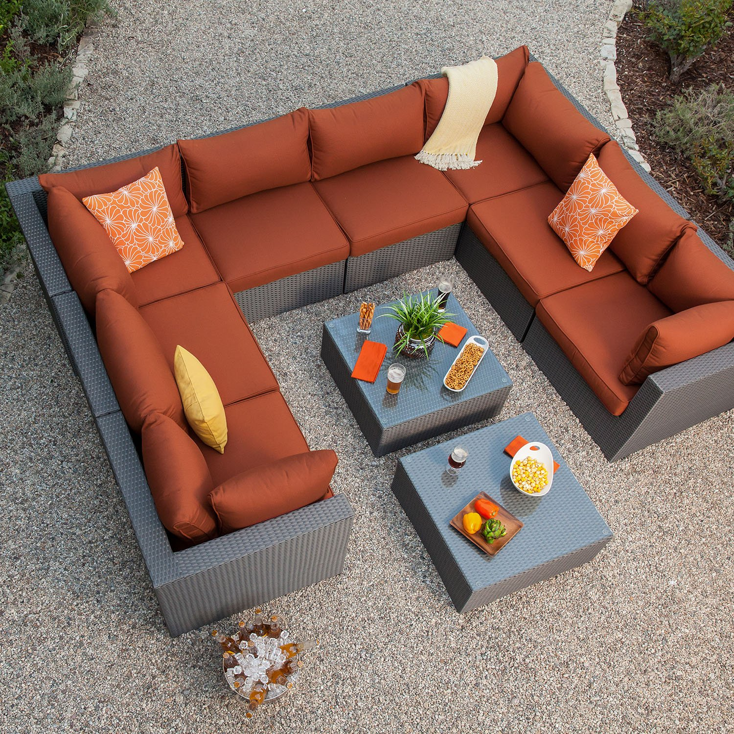Get Quotations Royal Garden Becket 10 Piece Outdoor Wicker Sectional Set Patio Sofa Conversation