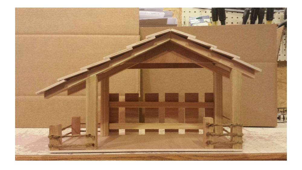 Rustic Wooden Stable Manger Weathered Nativity Cr\u00e8che