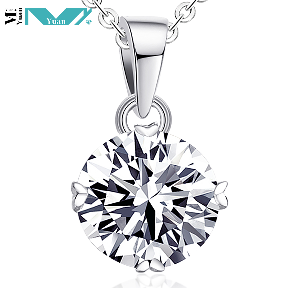 925 Sterling <strong>Silver</strong> Round Cut CZ Cubic Zirconia Solitaire Pendant