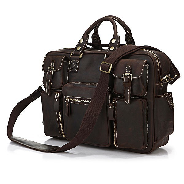 Newest Hot Sale Top Rated Dark Brown Color Top Grade Fashion Vintage Style Genuine Leather Handbag For Men#7028R
