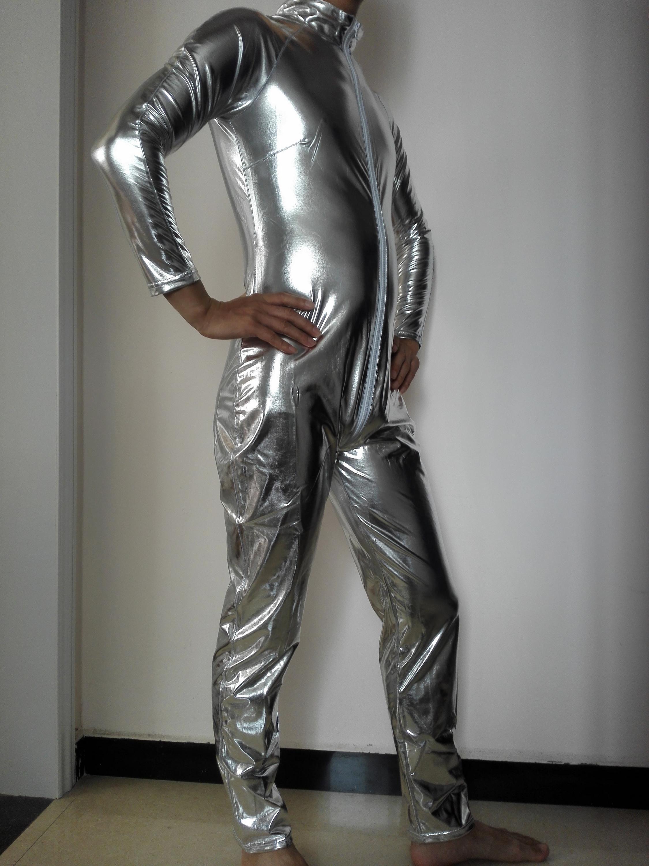 latex catsuit man men leather zipper catsuit shiny man