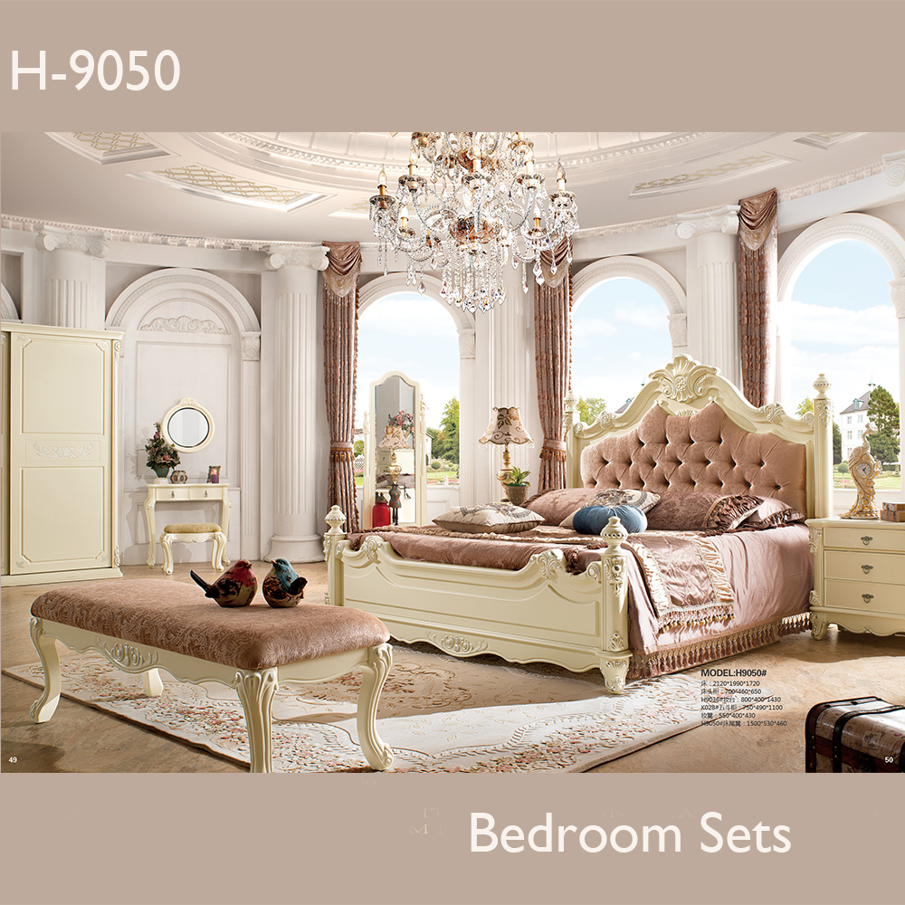 Antique royal style hand carved hotel bedroom furniture sets
