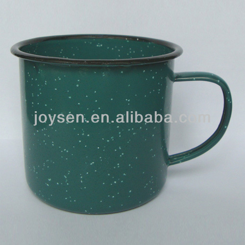 Enamel blue/red/green/brown color with white dots/sparkle Camping Mug