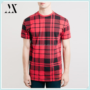 Oversize fit fashion red tartan man t-shirt cotton/polyester t-shirt plaid t-shirt for men