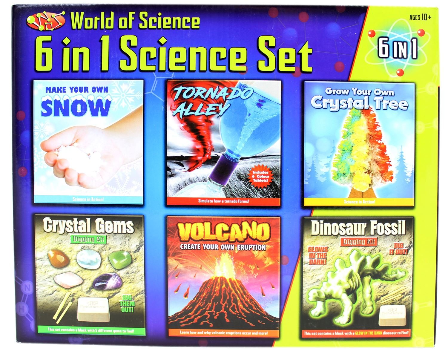 6 in 1 Science Set of: Make Your Own Snow, Tornado Alley, Crystal Gems Digging Kit, Volcano Eruption Kit, Grow Your Own Crystal Tree and Dinosaur Fossil Digging Kit.
