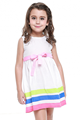 Girls Kids One Piece Dress Stripe Color Birthday Gift Costume