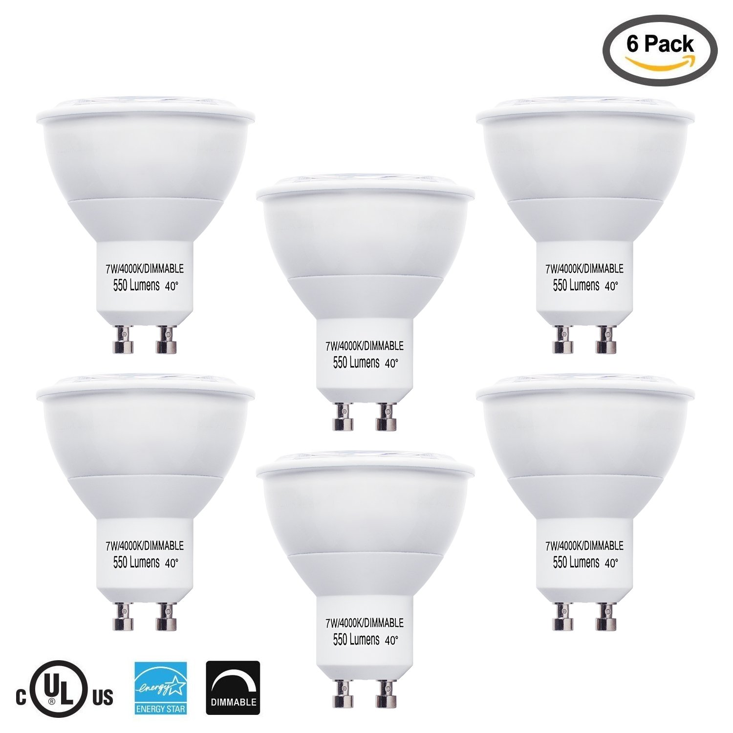 LB10562 LED GU10 MR16 40° 50W Equivalent, Dimmable 7 Watt, 4000K Daylight Light Bulbs, 550 Lumens, UL-Listed, Energy Star Certified, (6-Pack)