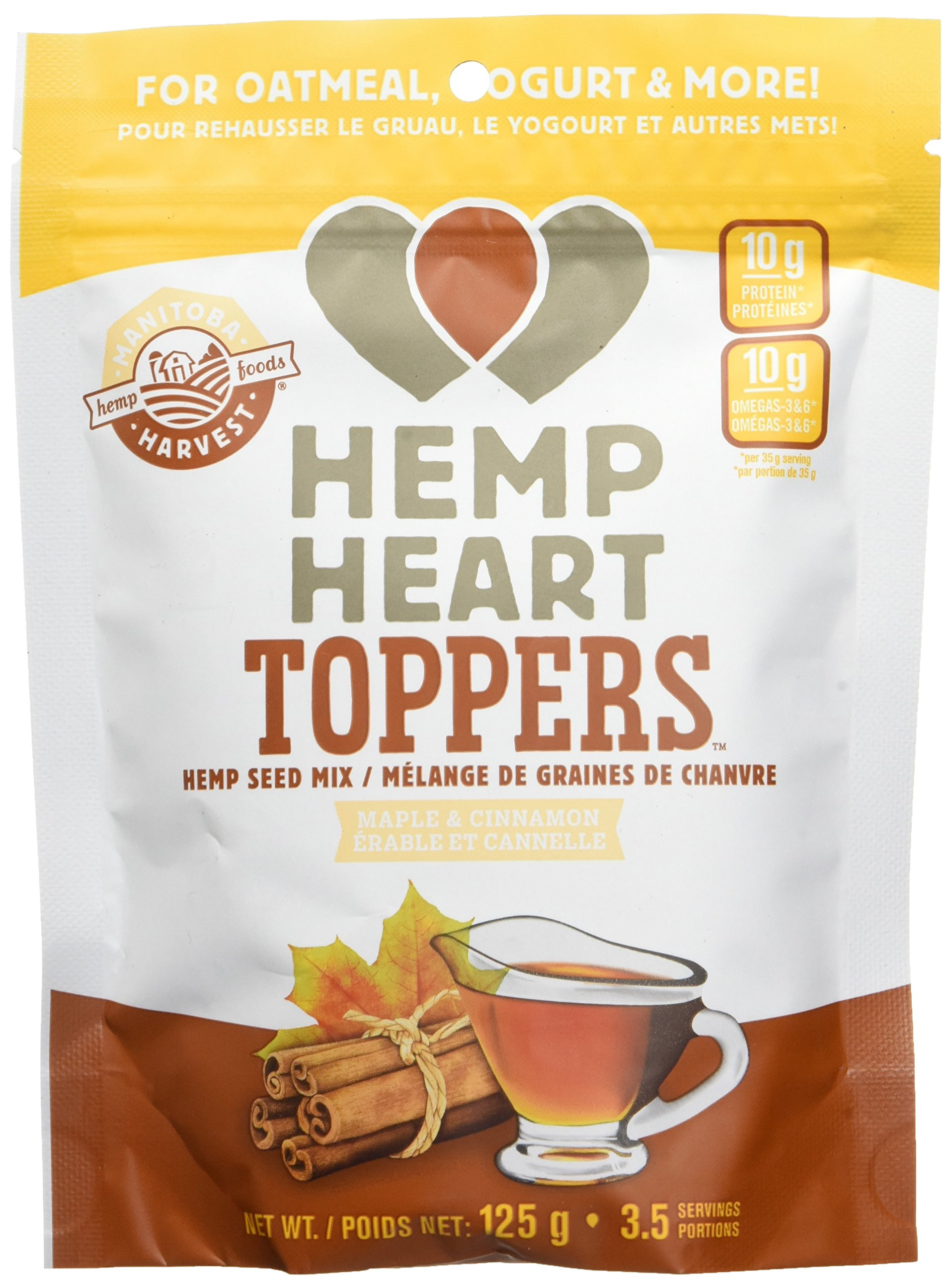 Manitoba Harvest Hemp Heart Toppers, Maple & Cinnamon, 4.4oz; with 10g of Protein & Omegas, 3g of Fiber per Serving, Non-GMO
