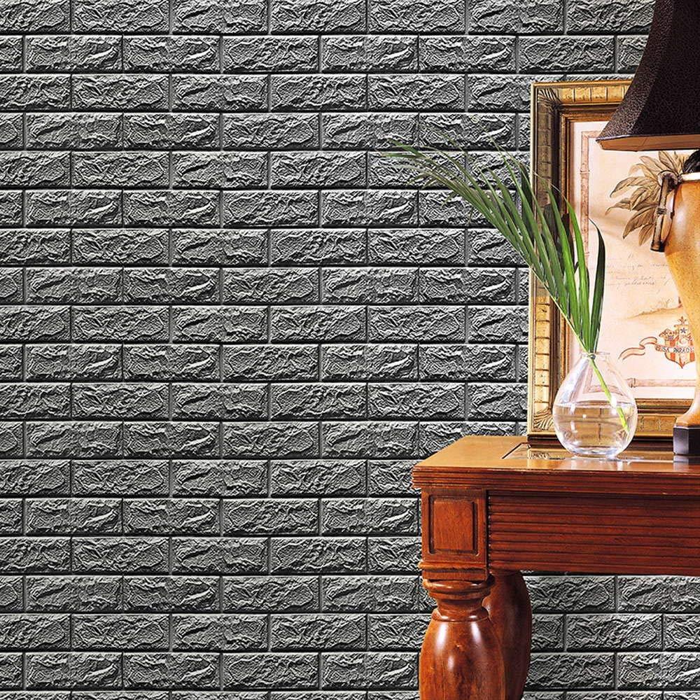Nesee 3D Wallpaper,New PE Foam 3D Wallpaper DIY Wall Stickers Wall Decor Embossed Brick Stone (Gray)