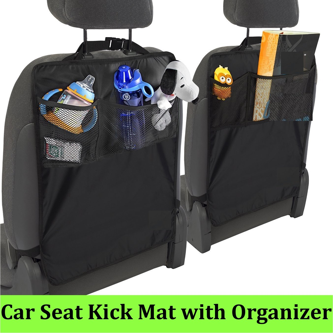 Kick Mats Seat Protector - Original Style - 2 Pack - Universal Fit for Car, Truck, SUV, or Van- Rear Auto Bucket Seat Upholstery Protective Cover