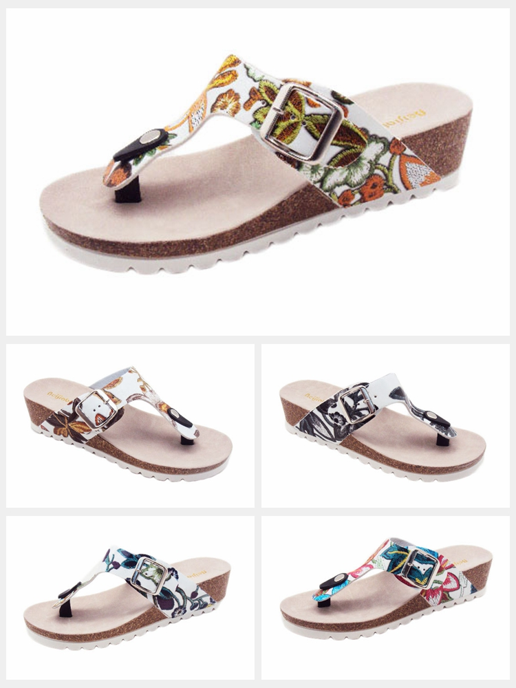 0083ec50c New Fashion Wear Stud Thong Cork Sole Thong Strap Sandals Low Wedge Heel  Open Toe Summer. Certificate