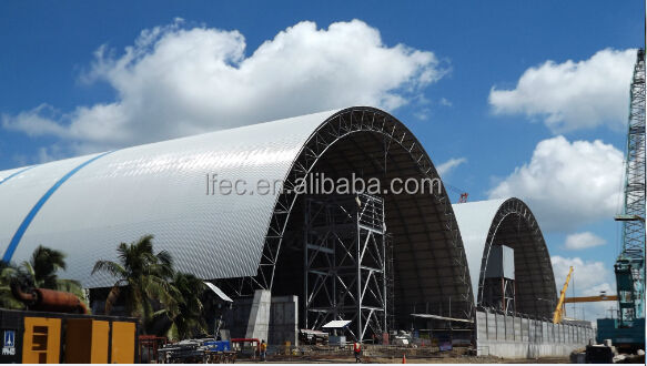 Pre engineering Curved Roof Steel Structure Shed With Sandwich Panel of Coal Storage