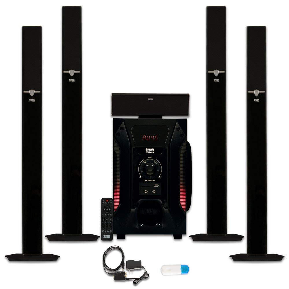 Acoustic Audio AAT1003 Tower 5.1 Home Speaker System with USB Bluetooth and Optical Input