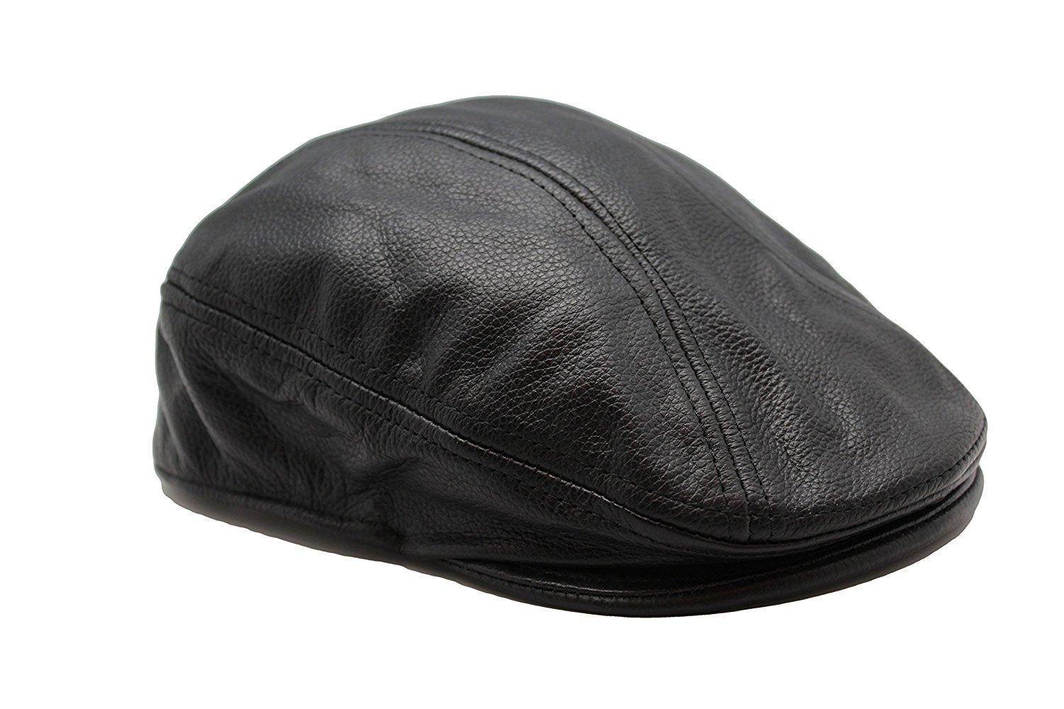 7e05e508b91a8 Genuine Leather Black News boy Gatsby Cabbie Flat Driver Ivy Ascot Hat Cap  JTC