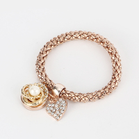 Trendy Promotions DIY Women Men Gold Elastic 18-20 MM Snap Button Bracelet With Heart Pendant