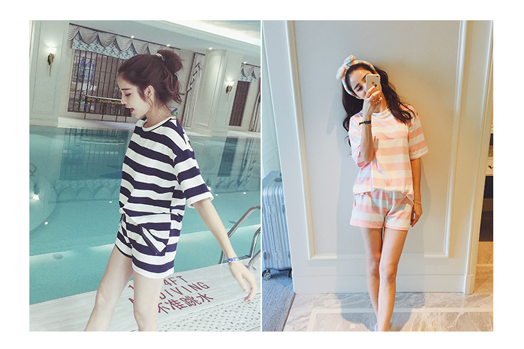 ed9494aba7 2019 Wholesale Factory Outlets Casual Striped Pajamas Sets Round ...