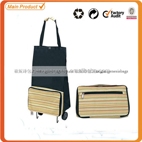China fashion design folding shopping trolley bag with 2 wheels