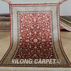 YILONG 4'x6' hand knotted red silk carpet floral design new persian rug